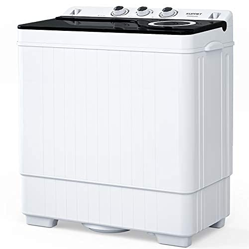 Compact Twin Tub Portable Mini Washing Machine 26lbs Capacity, Washer(18lbs)&Spiner(8lbs)/Built-in Drain Pump/Semi-Automatic (White&Black)
