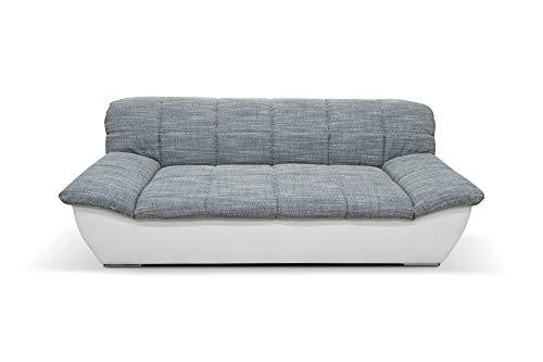 DOMO Collection Splash Sofa / 2-Sitzer / Breite: 211 cm / Bezugsstoff: Webstoff in weiss-grau & Kunstleder in weiss / modernes Sofa