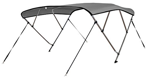 """Leader Accessories Light Grey 4 Bow 8'L x 54"""" H x 73""""-78"""" W Bimini Top Cover 4 Straps for Front and Rear Includes Mounting Hardwares with 1 Inch Aluminum Frame"""