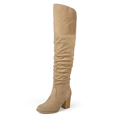 Brinley Co. Womens Regular Wide Calf and Extra Wide Calf Ruched Stacked Heel Faux Suede Over-The-Knee Boots Stone, 6.5 Regular US