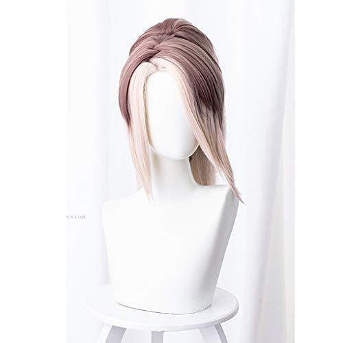 GWXSST Luz Brown peluca corta recta Medio de alta temperatura resistente de fibra de la cola de caballo de pelo largo rizado, Cola de caballo larga recta corta sintética peluca de pelo ondulado natura
