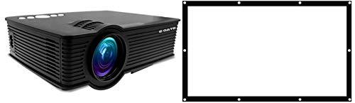 EGATE i9 LED HD Projector (Black) HD 1920 x 1080 - 120-inch Display_Egate EYE64 Projector Screen Eyelet, 6 x 4 feet Combo