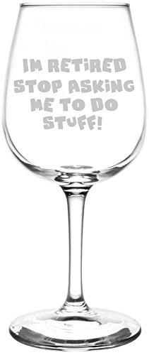 Stop Asking Me To Do Stuff - Posavasos de vino con grabado de jubilación, regalo para mujeres, hombres, decoración de fiesta