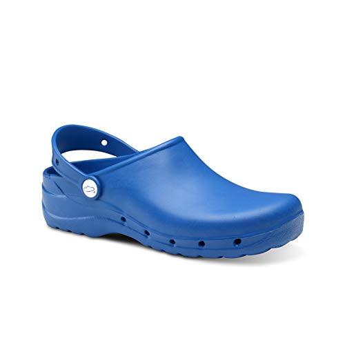Feliz Caminar - Zuecos Sanitarios Flotantes Azul Eléctrico, 39