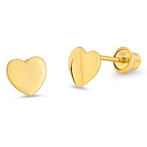 arete de tuerca de oro amarillo de 14 quilates y oro blanco con forma de corazón para niños y niñas