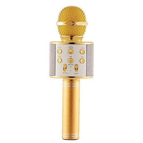 Ykarn Trades Handheld Wireless Microphone Mic With Audio Recording Bluetooth Speaker & Karaoke Feature For All Tablets PCs, iOS Android Smartphones - GOLD ROSE GOLD