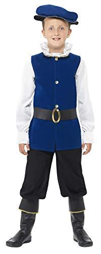 Smiffys Kinder Tudor Jongen kostuum, Top, Broek met Boot Covers, Riem en Hoed, Grootte: M, Kleur: Koninklijk Blauw, 41092