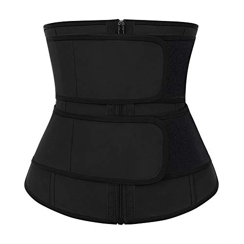 FeelinGirl Women Neoprene Waist Trainer Underbust Corset Trimmer Slimming 2 Belt Body Shaper 3XL Black
