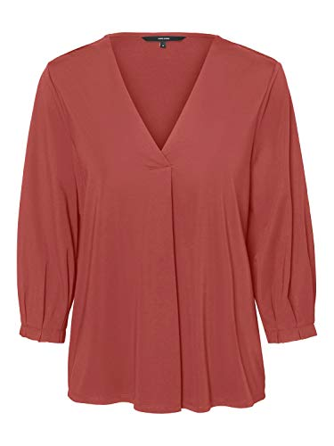 Vero Moda VMJEAN 3/4 Top JRS Blusas, Marsala, XL para Mujer