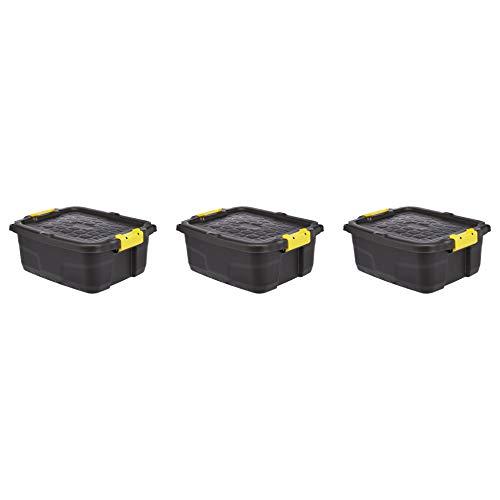 Amazon Basics – Caja de almacenaje de alta resistencia, 24l, con tapa y cierre de clip (paquete de 3)