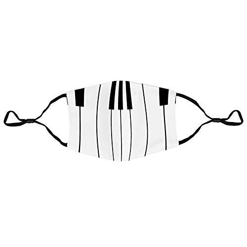 Mugsan schwarz-weiße Klaviertasten, Unisex, modischer Schutz, Anti-Staub, Baumwolle, Mundschutz, verstellbar, austauschbar, waschbar