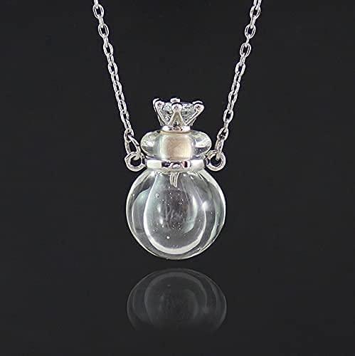 CJSZSD 1 Pieza de Botella de corazón Transparente Colgante de Aceite Esencial de Cristal de Murano Collares de Perfume de Cadena de Acero Inoxidable perfumes para Mujeres