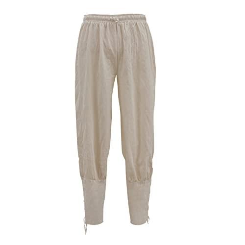 CNLINAHOME Pantalones Casuales Pantalones para Hombre Pantalones De Tobillo Pantalones De Pirata Medieval Pantalones De Secado Rpido White-L