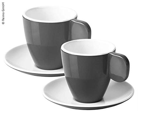 Camp4 Melamin Espresso-Tassen, 2er-Set, anthrazit/weiß, 2 Tassen + 2 Untertassen (9329930933)