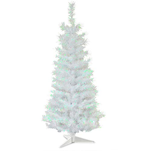 National Tree Company Artificial Christmas Tree | Includes Stand | White Iridescent Tinsel - 3 ft