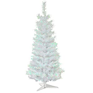 National Tree Company Artificial Christmas Tree   Includes Stand   White Iridescent Tinsel – 3 ft
