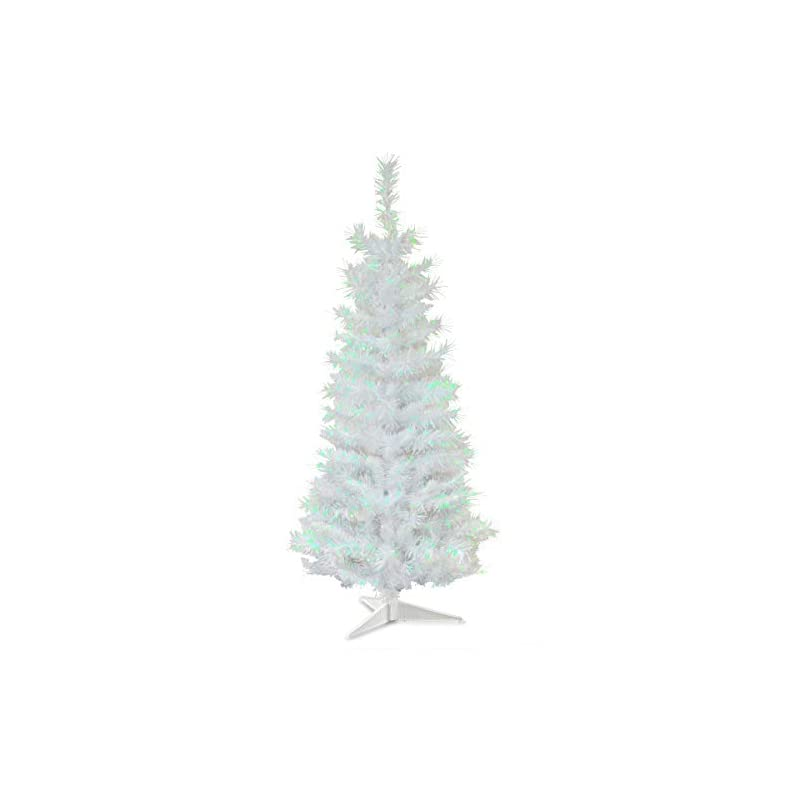 silk flower arrangements national tree company artificial christmas tree   includes stand   white iridescent tinsel - 3 ft