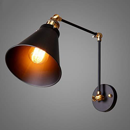 Lámpara de Pared Industrial Vintage Giratorio Extensible Luz de Pared Hierro Brazo/Pantalla Lámpara Retro Aplique de Pared e27 Lámpara de Noche Lampara de Lectura Creativo Luz Interior,Negro