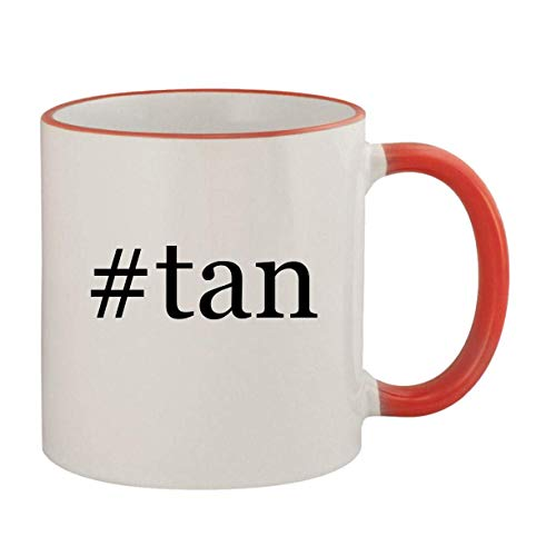 #tan - 11oz Ceramic Colored Rim & Handle Coffee Mug, Red