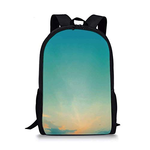 AOOEDM Backpack Stylish School Bag,Twilight Sunset Morning Clear Sky Dawn Nature Clouds Horizon Artwork Decorative for Boys,11''L x 5''W x 17''H