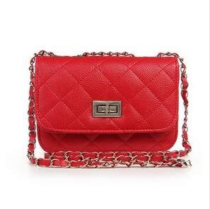 Mdsfe Mode Neue Handtaschen Hochwertige PU-Leder Damen Tasche Kleine Weihrauch Windkette Raute Schultertasche Lock Stereotypes Gitter - Rot
