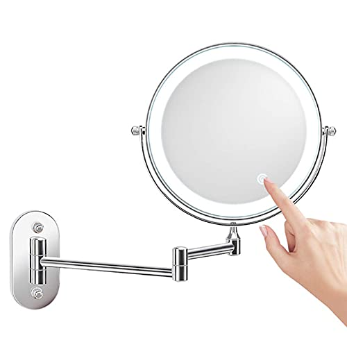 SJASD Espejo de Maquillaje con Luz LED de Montaje en Pared, 7 Pulgadas Espejo de Maquillaje de Tocador de baño, Espejo Cosmético de 360 Giratorio,Bateria Cargada,3X Magnifying