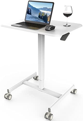 Mobile Laptop Desk Sit-Stand Desk Adjustable Height Laptop Desk Cart...