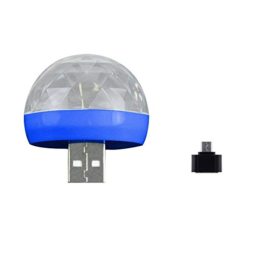 LED Disco Kugel Licht MP3 Musik Disco Licht USB Portable Farben Modi Dance Hall Strobe Light Party Licht für Hochzeit Festival Bar Club DJ KTV Ball Lampe Party Lampe (Blau)