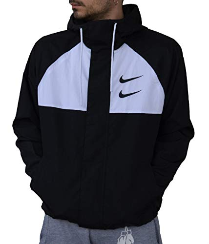 Nike M NSW Swoosh JKT HD WVN Jacket, Herren M Schwarz/Weiß/Grau/Schwarz