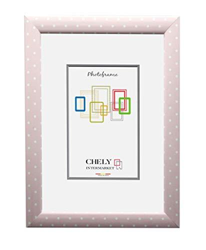 Chely Intermarket, Marco de Fotos 15x20 cm (Rosa Punto) Mod-206| Estilo Infantil-Juvenil | Marco de Madera para Decoración de Casa | Fotografías de Boda | Listado de Precio | moldura con Relieve
