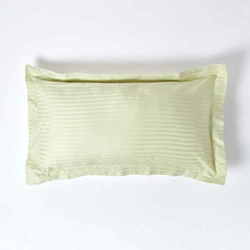 Homescapes – Taie d'Oreiller rectangulaire Vert Sauge 50 x 90 cm – Volant Plat Oxford – 330 Fils