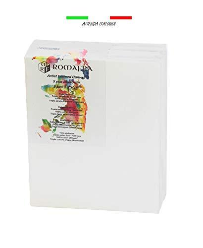 ROMAFRA Lienzo Para Pintar 24x30 Blanco Juego De 5 Lienzos Enmarcados Con Voltaje Ajustable Con Cuñas