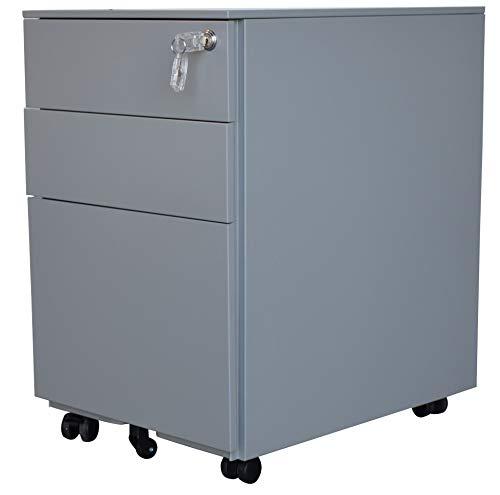 Jet-line Stahl Rollcontainer 3 Schubladen Hängeregistratur Abschießbar Homeoffice Büroschrank Schrankkorpus Vormontiert Grau 39 Breit cm x 52 cm Tief x 60 cm hoch Homeoffice Büromöbel