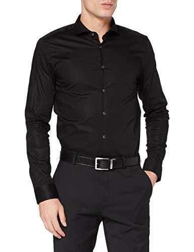 Strellson Premium Herren 11 Adrian 10005809 Businesshemd, Schwarz (Black 001), Kragenweite: 37 cm