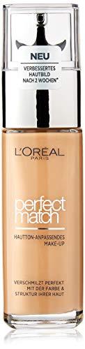 L'Oréal Paris Perfect Match Make-up 6.D/6.W Golden Honey, flüssiges Make-up, hautton-anpassend, pflegt die Haut mit Hyaluron und Aloe Vera