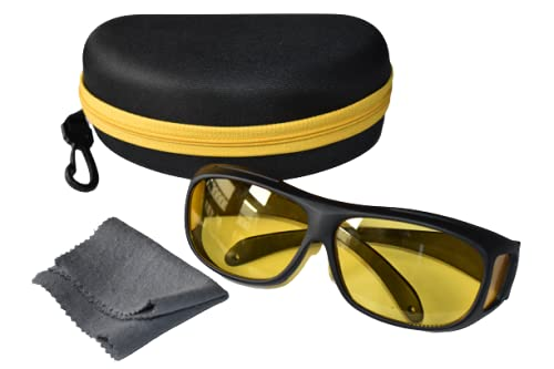 Essential Product Antiglare Day and Night Yellow Glasses for Driving Reading Computer Blue light Blocking Glasses with cover and glass cleaning cloth free- 1 Piece