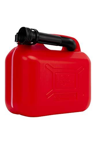 Motorkit MOTOR16511 Bidón/Garrafa Plástico Gasolina/Diesel 5L homologado, con Franja de medición de fácil Lectura, Incluye Embudo