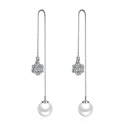DJMJHG Pendientes de Borla de Plata de Ley 925, Perlas largas, Pendientes de circonita cúbica con Micro Incrustaciones para Mujer
