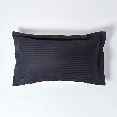 Homescapes – Taie d'Oreiller rectangulaire Noir 50 x 90 cm – Volant Plat Oxford – 330 Fils