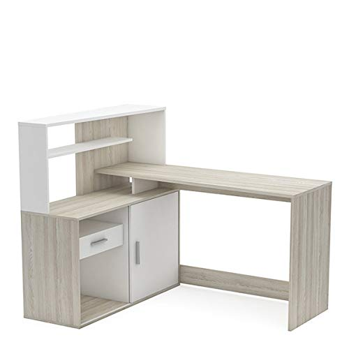 Office Desk Kane, Oak and White,