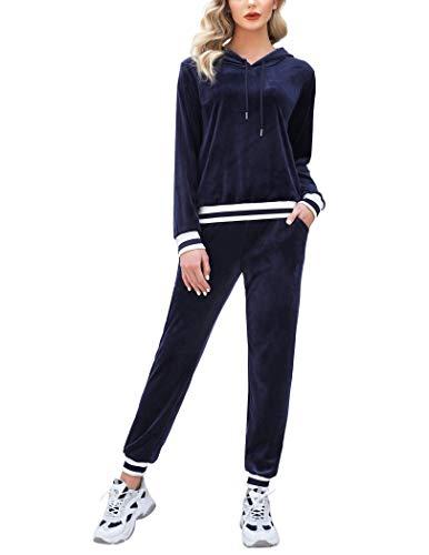 Aibrou Conjunto Chándal de Terciopelo de Mujer,Sudadera con Capucha con Pantalón de Sudor Conjunto Gemelo Manga Larga Conjunto de Abrigo Deportivo de Terciopelo Pijamas ( Azul Marino , M