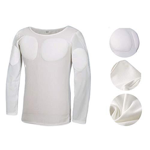 FR&RF T-Shirt Mariage Faux Muscle pour Homme - Corps Respirant - sous-vêtement à Simulation à Simulation de Séchage Rapide à Séchage Rapide - Doublure Poitrine - Blanc,S