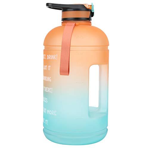Cyrank Botellas de Agua Deportivas de 3,78 l, Botella de Agua para Bicicleta, Botella de Agua con Marcador de Tiempo con Pajita, Botella de Agua con infusor a Prueba de Fugas