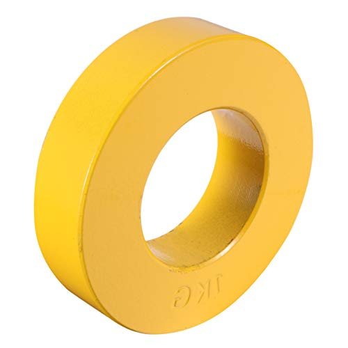 VOSAREA Yellow 1KG Barbell Grip Plate for Strength Training Weightlifting and Bodybuilding Solid Cast Iron Weight Plates for Barbell