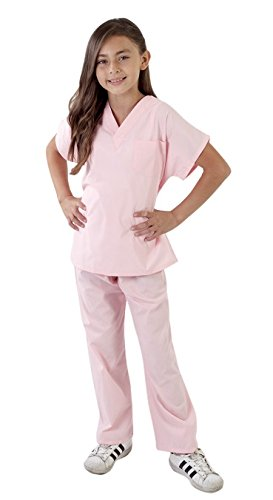 Super Soft Children Scrub Set Kids Doctor Dress up (5/6, Pink)