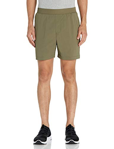 Amazon Brand - Peak Velocity Men's All Terrain 7' Short with Elastic Waistband, Olive, Medium