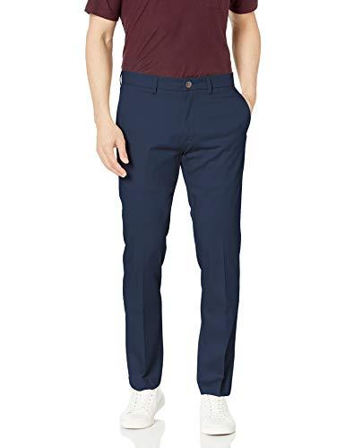 Haggar Men's Premium No Iron Khaki Slim Fit Flat Front Casual Pant, Dark Navy, 34Wx32L