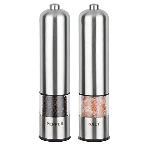Electric Salt and Pepper Mill Grinder Set, Automatic Battery Operated...