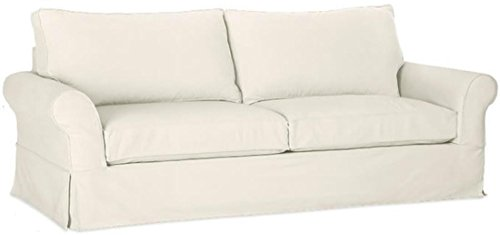 """The Cotton Sofa Cover (Width: 81""""~ 83.5"""", Not 92"""" !) Fits Pottery Barn PB Comfort Roll ARM Sofa (Not Grand Sofa). A Durable Slipcover Replacement (Light Gray for Box Edge)"""