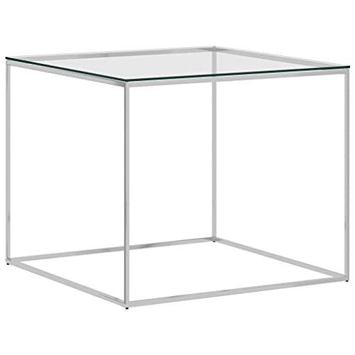 vidaXL Tavolino da Salotto Argento 50x50x43cm in Acciaio Inox e Vetro